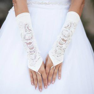 Accessories - Satin Bridal Fingerless Gloves With Floral Lace